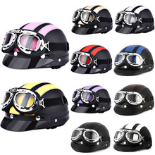 Hot Sell  Retro Style Motorcycle Helmet 54 - 60CM with Goggles Sun Shield Necklet Light and Durable Protecting Head