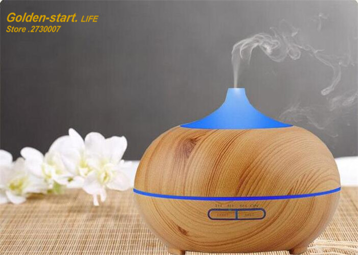 300ml Aroma Essential Oil Diffuser Wood Grain Ultrasonic Cool Mist Humidifier for Office Home Bedroom Living Room Study Yoga Spa<br>