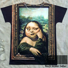 Track Ship+New Fresh Hot T-shirt Top Tee Famous Paint Mona Lisa Fatty Thinking 0301
