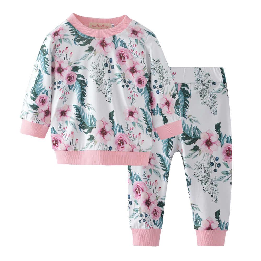 Moda Niño niños niña ropa flor manga larga Camiseta + Pantalones chándal 2  piezas trajes bebé f9f5aabdbbd3