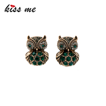 KISS ME Green Crystal Owl Stud Earrings Antique Gold Color Vintage Jewelry Cute Women Accessories Valentines Gift(China)