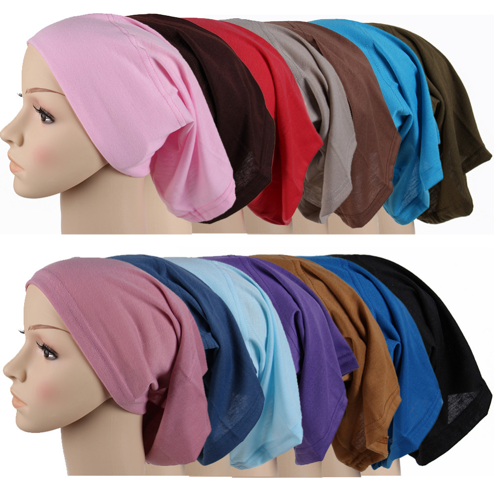 2017 Fashion Pleated Womens cotton Bonnet Turban Underscarf  Muslim Caps   hijab shawl Muslim pure colors Islamic Hijab HatsÎäåæäà è àêñåññóàðû<br><br><br>Aliexpress