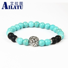 Ailatu Bright Lion Head Bracelet Round Black Volcanic Energy Stone Beads for Men Gift