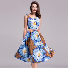 Novelty Fashion Dresses 2017 Summer New Blue Sunflower Print Slim knee-Length Princess Sleeveless Elegant Dress