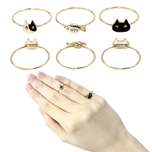 3 Pcs/Set Fashion Fishes Tail Knuckle Ring Gold Silver Color Rhinestone Midi Ring Set 2D1021
