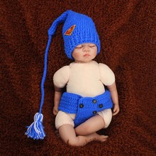 Crochet Long Tail Baby Elf Hat with Diaper Cover Set Superman Newborn Photography Prop Baby Boy Stocking Hat H274