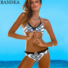 BANDEA Bikini Brazilian High Neck Swimwear Women Floral Print bikini Sexy Cup Padded Swimsuit Bikinis women bathing suits