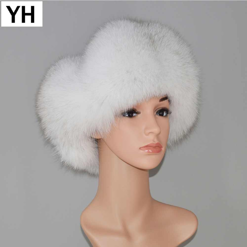 d141c1c096f 2018 Women Lovely Fox Fur Hats Natural Raccoon Fox Fur Russian Ushanka Hat  Winter Quality Thick