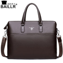 BAILLR 2017 Men Tote Bags Genuine Leather Business Bag Fashion Handbags Male Laptop Briefcase Crossbody Bags Men's Messenger Bag(China)