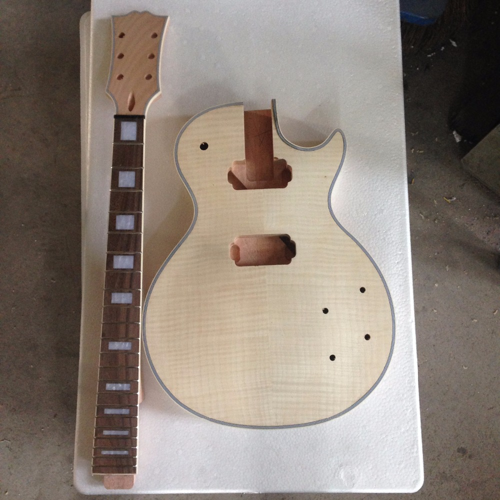 1959 DIY kits LP custom electric guitar kits 2piece mahogany body and flamed maple top gold hardware(China (Mainland))