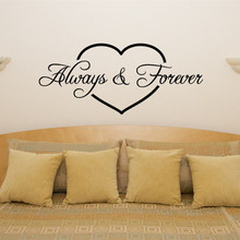 W141 Always Forever Heart Bedroom decor Dining Decal Wall Art Sticker Picture for Living Room