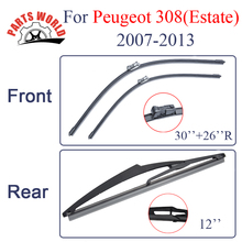 Front And Rear Wiper Blades For Peugeot 308 Eatate 2007 2008 2009 2010 2011 2012 2013 Windshield Rubber Car Accessories(China)