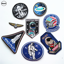 1 PCS Space Astronaut parches Embroidered Iron on Patches for Clothing DIY Stripes Air force Clothes Stickers Custom Badges @B(China)