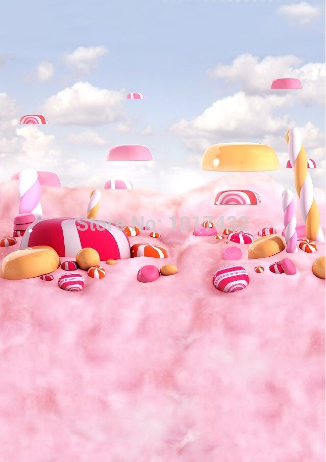 5x10ft(1.5x3m) lovely newborn photography backdrops printed with pink candies and pink clouds for girls or newborn  Z-068<br>