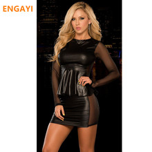 Buy ENGAYI Brand Sexy Summer Faux Leather Latex Women Erotic Dress Sexy Lenceria Babydoll Nuisette Porn Sexy Costumes Dresses A1061