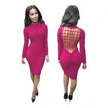 MAKE Women's Sexy Club Dress Women Spring Summer Long Sleeve Laced Criss Cross Cotton Slim Bodycon Bandage Party Dresses