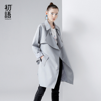 Toyouth gabardina 2017 mujeres del resorte abrigos da vuelta-abajo estilo británico medio-largo capa outwears