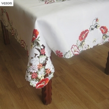 "vezon New Elegant 54*72"" Satin Floral Embroidery Tablecloth Embroidered Pink Flower Table Cloth Towel Overlay Cover Home Textile"