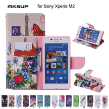 Fashion Patterns PU Leather Flip Wallet Cover Case for Sony Xperia M2 Stand Design Cell Phone Case