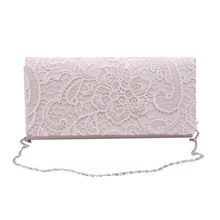 Woman Ladies Lace Floral Satin Party Evening Clutch Wedding Bridal Purse Bag Messenger Shoulder Party Girl Handbags W1696(China)