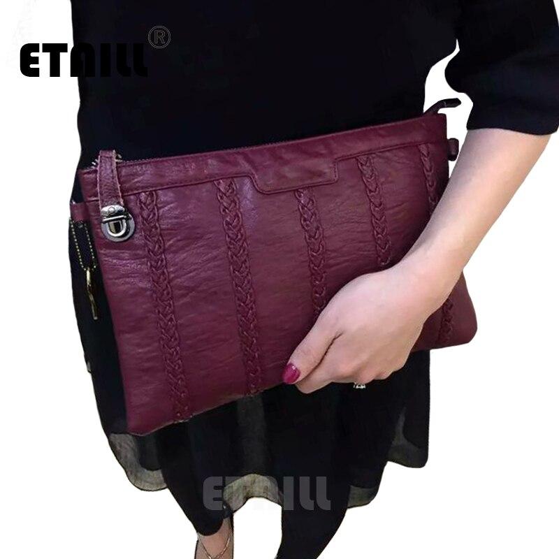 2017 Knitting Striped Vintage Black Ladies Evening Clutch Bags Crossbody Bag Women Famous Brands Designers Leather Envelope Bag<br>