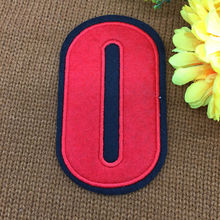 retail Footballer Polo Shirt red No.0 Number Badge Patches iron on Fabrics Clothes bag Appliques DIY accessory(China)