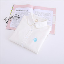 Women Blouse 2017 Fashion New  Autumn Casual Long Sleeve Cotton Turn-down Collar Button White Blue Embroidery Swan Shirt T77707A