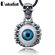Punk Men's Skeleton Skull Eyes Titanium Stainless Steel leather chain Pendant Necklace X577(China)