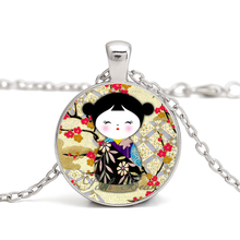 Washi Yuzen Dolls Japanese Kokeshi Glass Cabochon Necklaces Pendants Japanese Kokeshi Pattern Glass Pendant Gifts for Your Love(China)