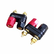 Double Banana Plugs Speaker Adapter Couple Terminals Red Black Connector Amplifier Binding Post Jack Double hexagonal terminal(China)