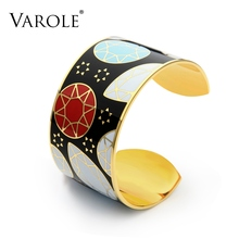 VAROLE 40mm Width Star Pattern Color Enamel Can Open Bangle Love Bracelets & Bangles For Women Fashion Jewelry Pulseiras Femme(China)
