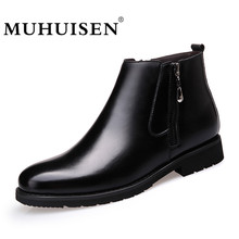 Fashion Winter Men Ankle Boots British Style Genuine Leather Slip Zipper Motorcycle Martin Boots Casual Warm Fur Shoes