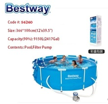 "56260 Bestway 366*100cm Steel Pro Frame Pool Set(Pool,Filter)/12'x39.5"" outdoor Round PVC Above Ground Pool/Fish Pool no Ladder(China)"