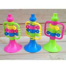 7*14 cm Children Musical Instruments Educational Letter Number Bugle Hooter Toys Kids Baby Plastic Colorful Trumpet Speaker