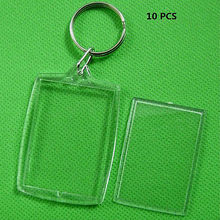 10pcs/Lot Rectangle Transparent Blank Acrylic Insert Photo Picture Frame With Keyring DIY Split Ring Gift(China)