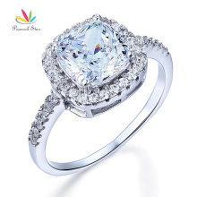 Peacock Star Solid 925 Sterling Silver Bridal Wedding Anniversary Engagement Ring 3 Carat Cushion Cut CFR8138