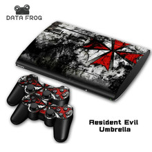 vinyl decal Skin Sticker for PS3 Super Slim and 2 controller skins-094 Resident Evil Umbrella for playstation 3 console(China)