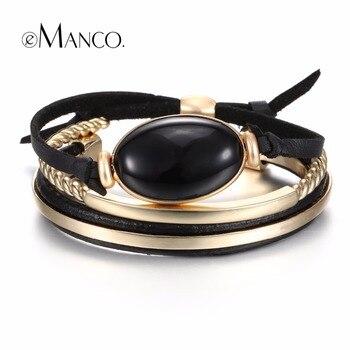 EManco Vintage Mix Match Couches Bracelets & Bangles pour Femmes Noir En Cuir et Semi-précieux Pierres Bracelet Bijoux De Mode