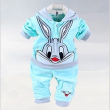 Baby Girls Clothing Set Cartoon Rabbit & Hello kitty 2016 Winter Autumn Children Clothing Casual Tracksuits Kids Clothes Girls(China)