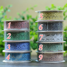 10 Colors Lace Hollow Sticky Adhesive Tape Sticker DIY Craft Trim Gift Deco Stickers Lace Tape Paper DIY Craft Pattern Random