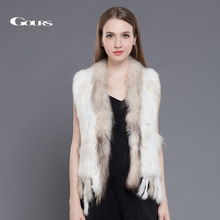 Gours Real Fur Coat for Women Winter Warm Ladies Knitted Natural Rabbit and Raccoon Fur Vest Fashion Brand Plus Size New Arrival