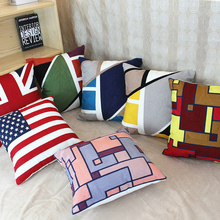Rainbow Plaid Embroidery Cushion Cover 6 Styles Blue Yellow Red Geometric Throw Pillow Cases 45X45cm Bedroom Sofa Decoration(China)