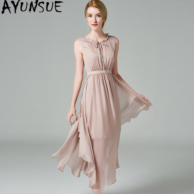 AYUNSUE Elegant Sleeveless 100% Real Silk Dress Wedding Womens Evening Party Dress 2018 Summer Dresses Women robe longue Z16ES69