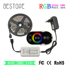 RGB Led Strip SMD 5050 Led Light tape 30LEDs/M 10M Waterproof Flexible Ribbon 5M +DC 12V Power+RF Rouch Controller(China)