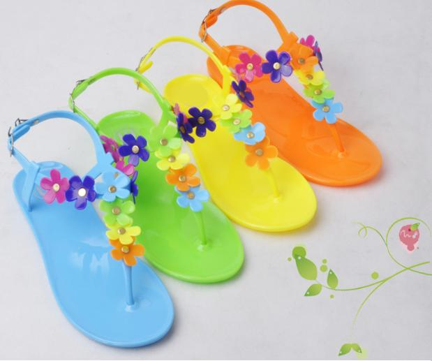 Fashion New Arrival Gladiator Style Sandals T- Strape candy Color Beach Jelly Shoes Flower Flat flip flop Sandals Discount<br><br>Aliexpress
