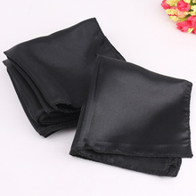 100 pcs 30cm Black Satin Napkins Solid Handkerchief for Wedding Party Hotel Restaurant Table Decors