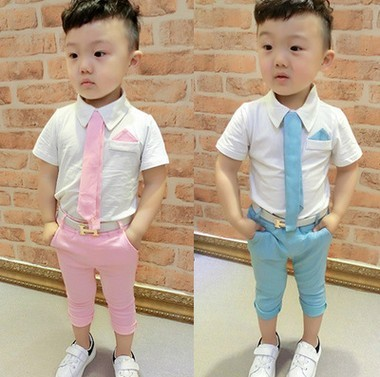 Retail! Hot 2017 Children Suits for Boys Brand Kids Summer Weddings Cotton shirt tie + pants with Belt baby suits Free shipping<br><br>Aliexpress