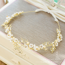 Gorgeous Handmade headband women crystal pearl jewelry forehead hair ornaments silk band bridal crown wedding accessories sx096