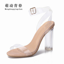 Women Sandals 2017 Shoes Woman Summer Style PVC High Heels Sandalias New Women's Sandals Ladies Zapatos Mujer Big Plus Size 43(China)