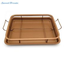Sweettreats Copper Crispy Tray Oven Air Fryer, Durable Mesh Basket With Reinforced Ceramic Coating Tray, Cook With No Oil(China)